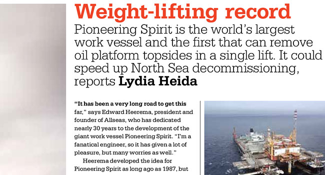 Weight-lifting record | Construction of Pioneering Spirit